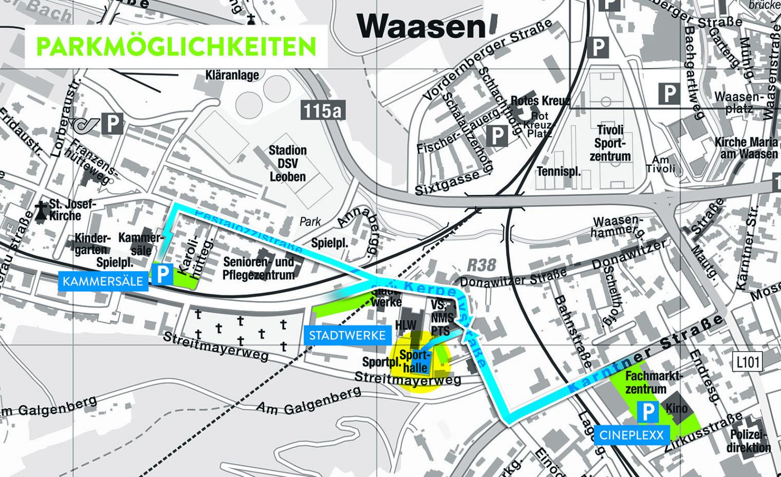 Karte mit Parkplätzen nahe der Sporthalle Donawitz