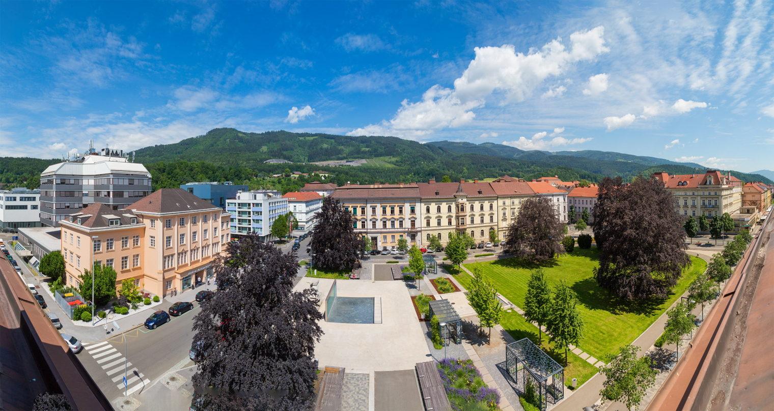 Panoramabild des Gärner Parks in Leoben