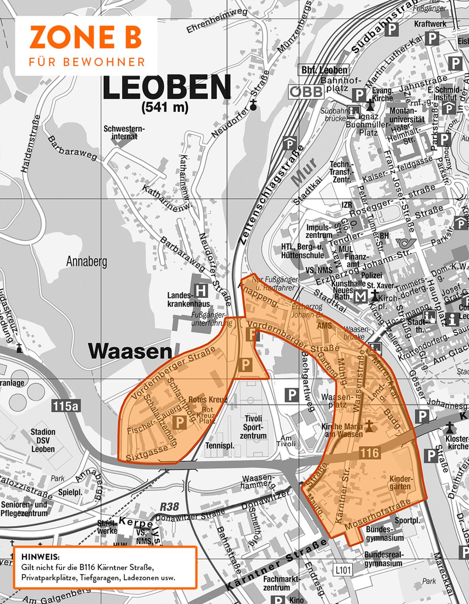 Karte der Parkzone B (Bereich Waasen)