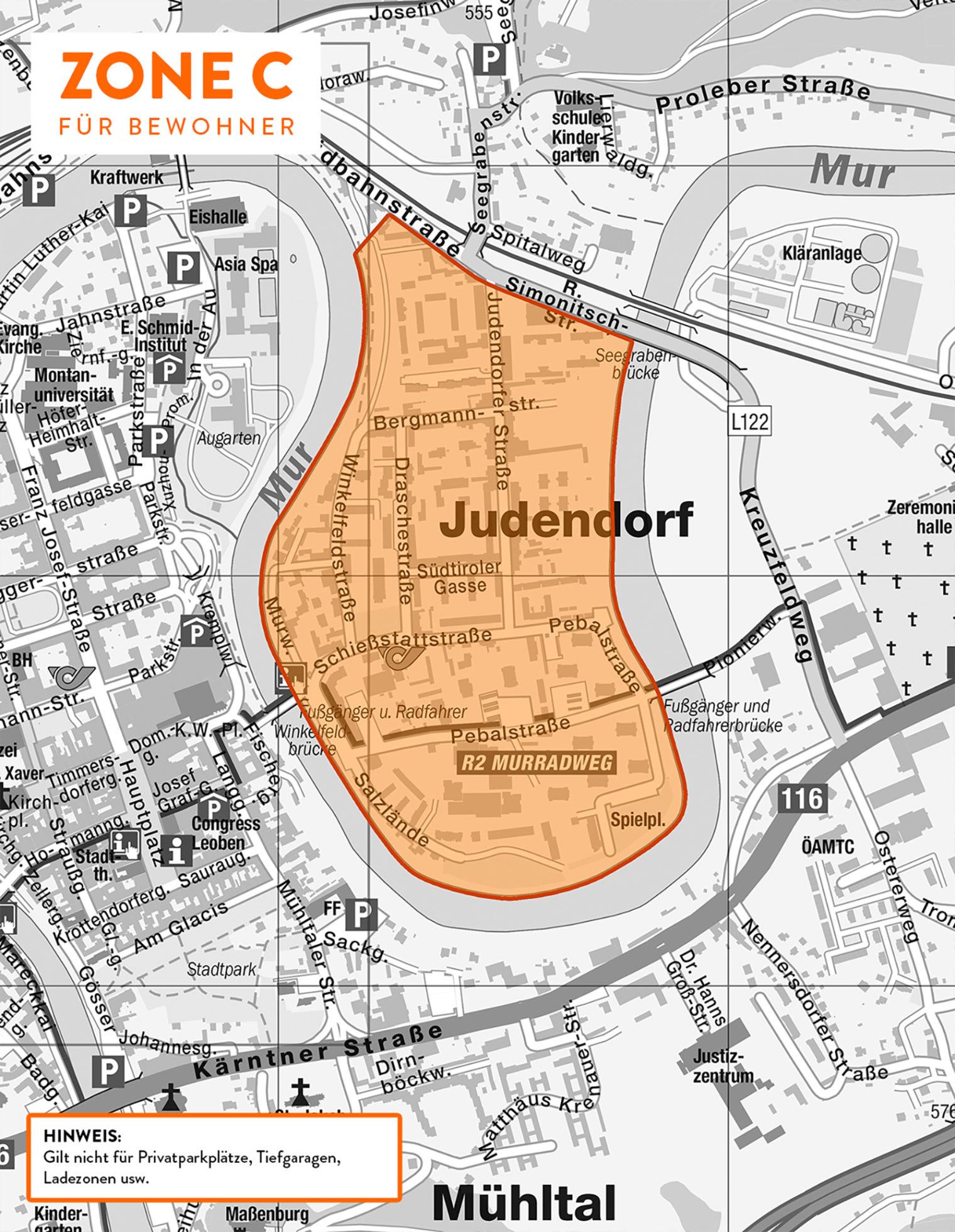Karte der Parkzone C (Bereich Judendorf)