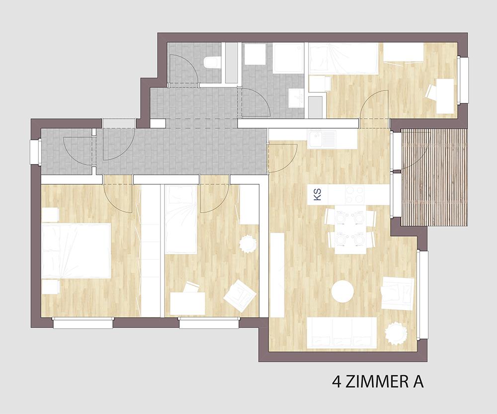 Grundriss einer 4-Zimmerwohnung