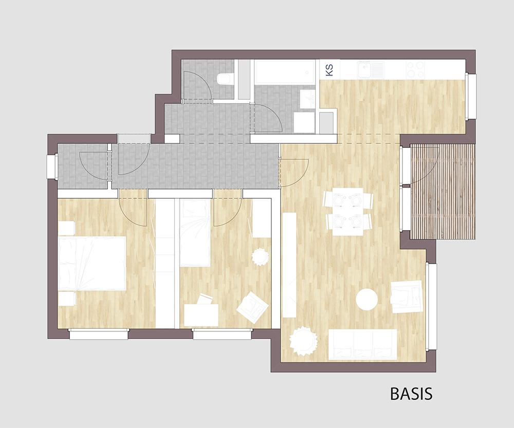 Grundriss einer 3-Zimmerwohnung
