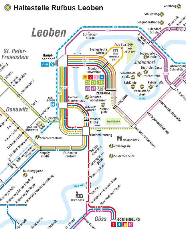 Plan mit den Haltestellen des Rufbus Leoben