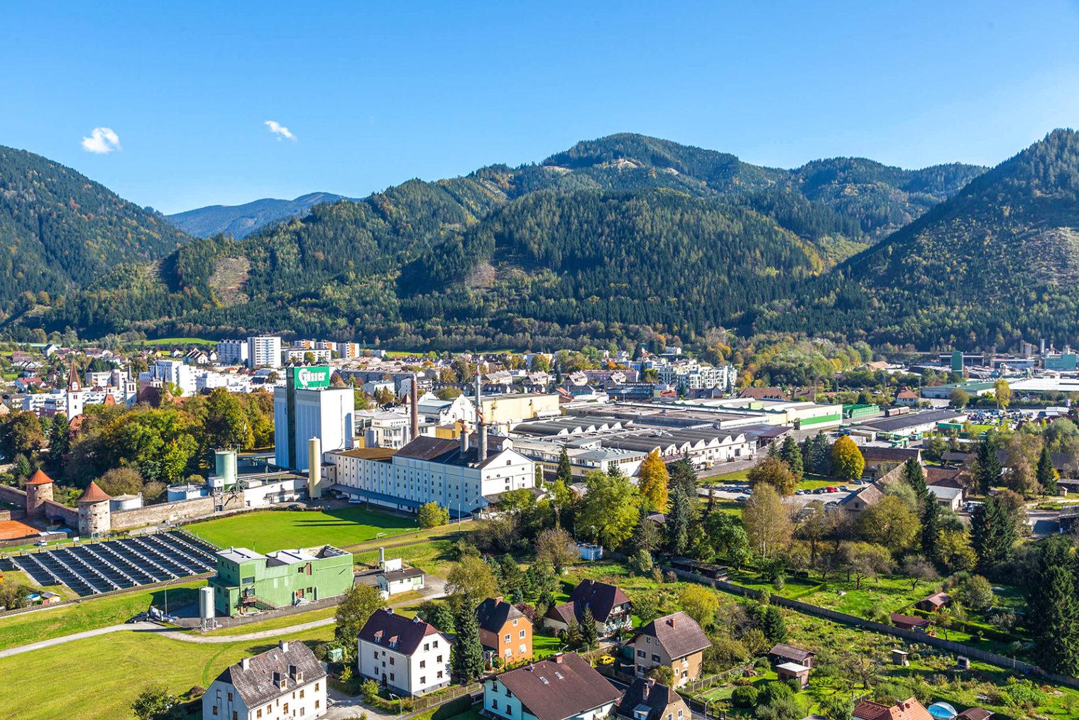 Luftaufnahme Leoben-Göss mit der Gösser Brauerei
