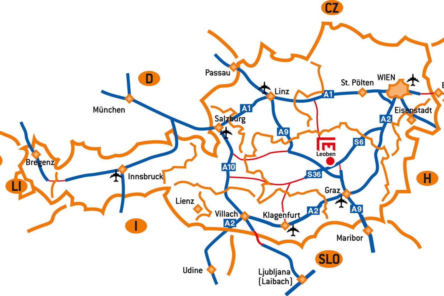 Lage von Leoben innerhalb von Österreich