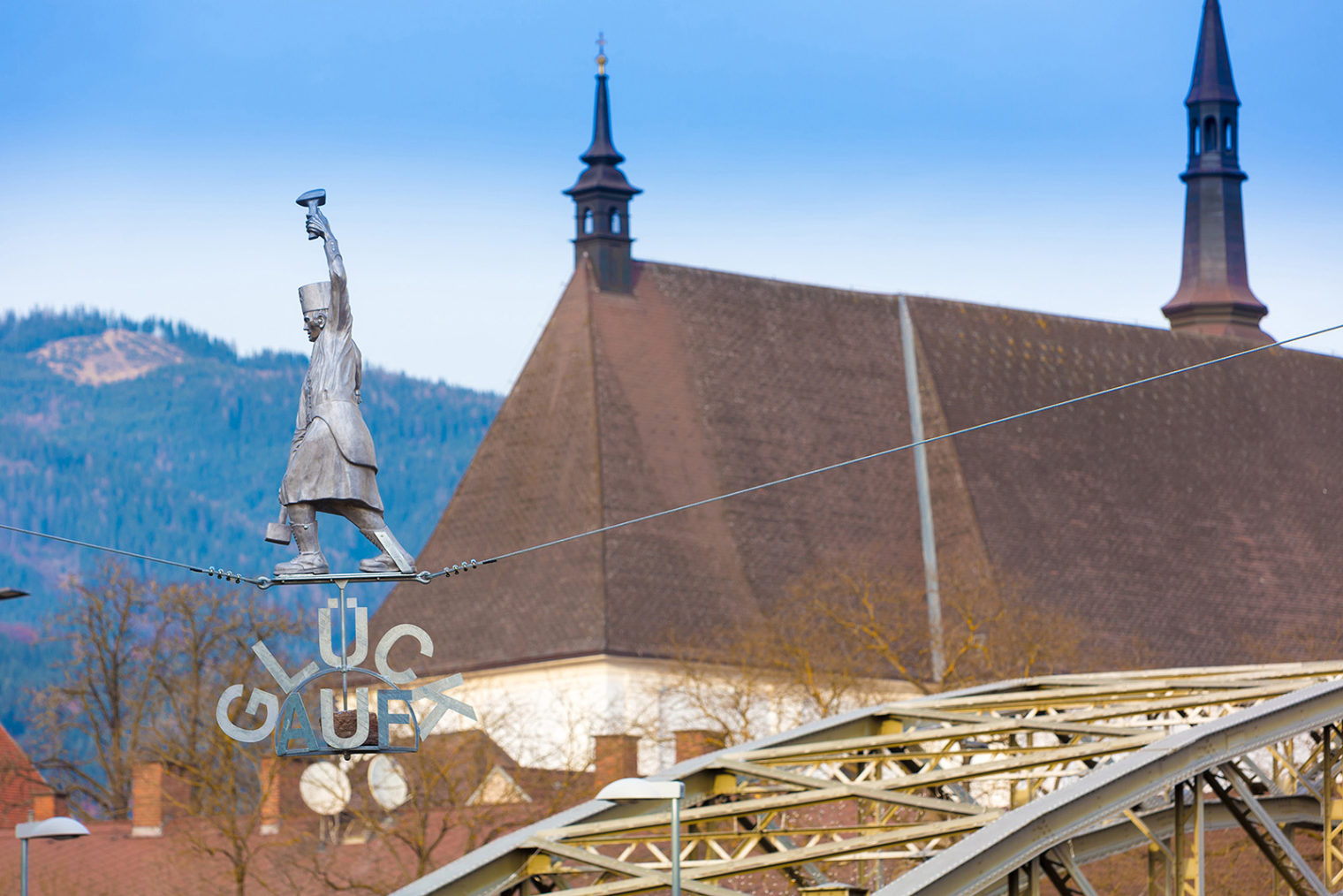 Nahaufnahme Seiltanzender Bergmann in Waasen