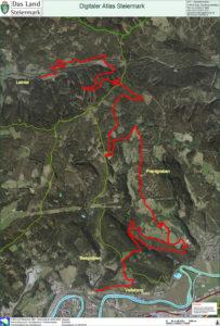 Luftbild: Verlauf der Strecke