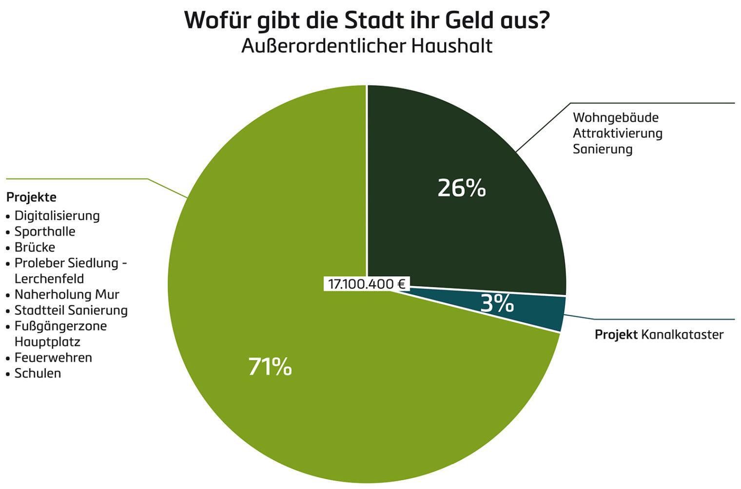 Grafik: Außerordentlicher Haushalt - Wofür gibt die Stadt ihr Geld aus?