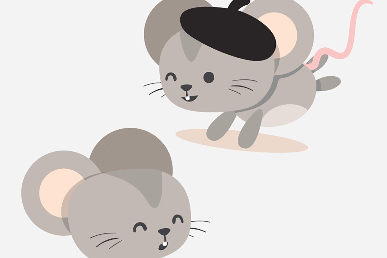 Illustration einer Stadtmaus und einer Landmaus