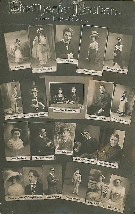 Porträts des Ensemble des Stadttheaters Leoben der Spielzeit 1912-13