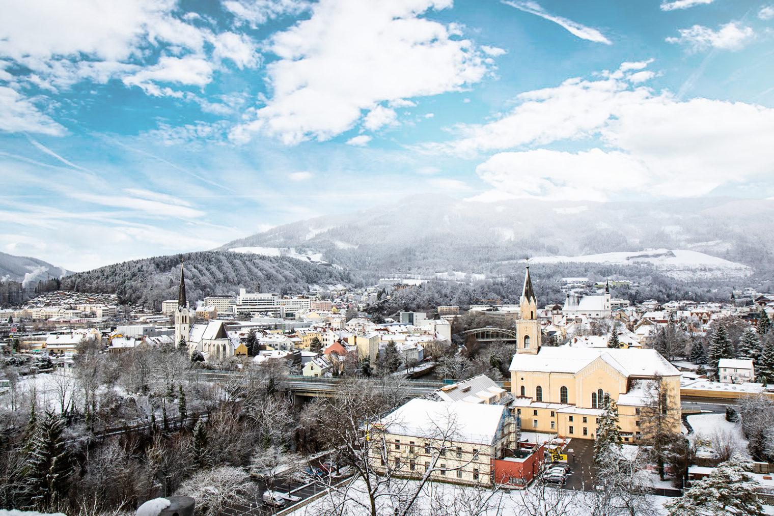 View of the City of Leoben in winter