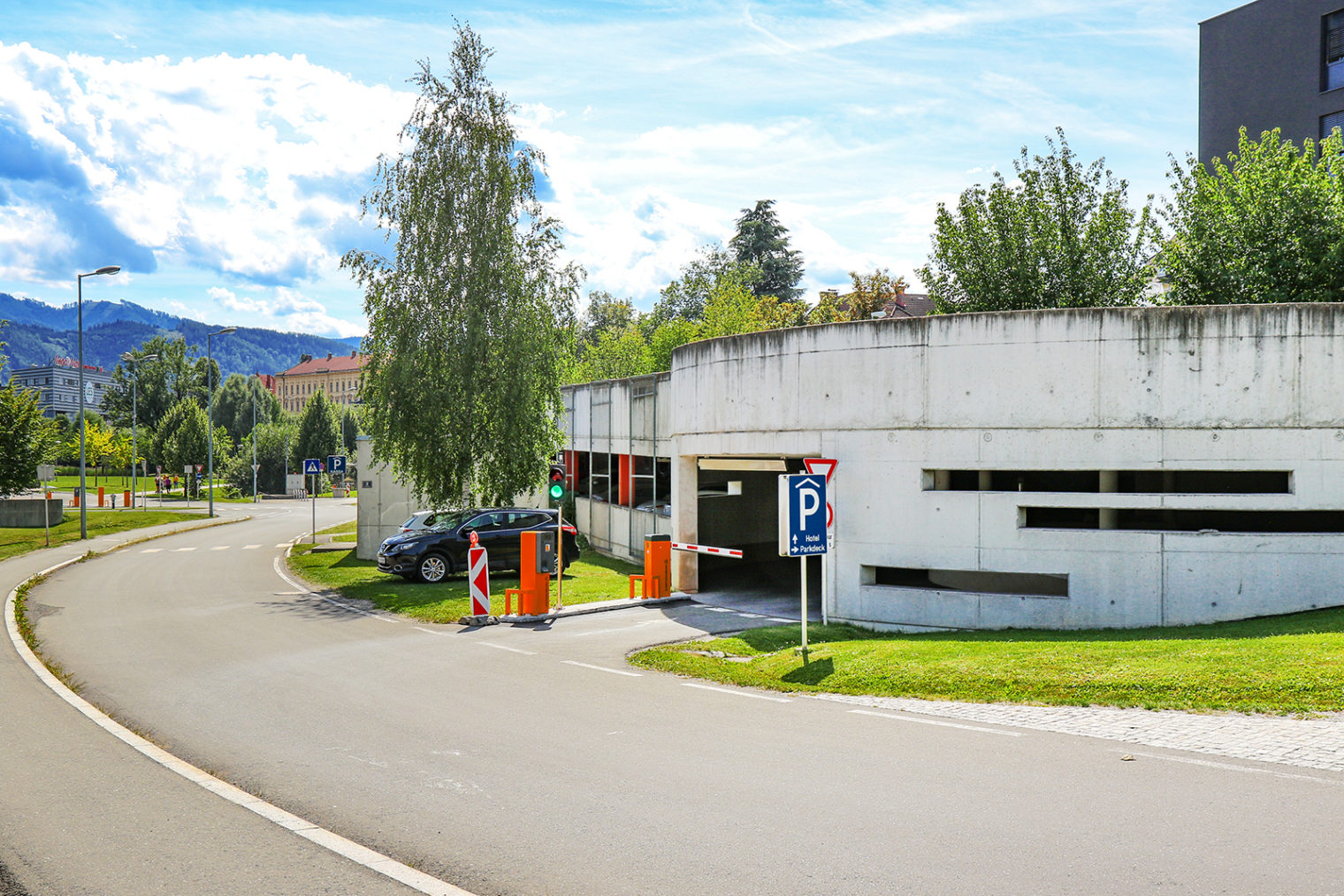 Entrance to the Asia Spa Car Park Leoben