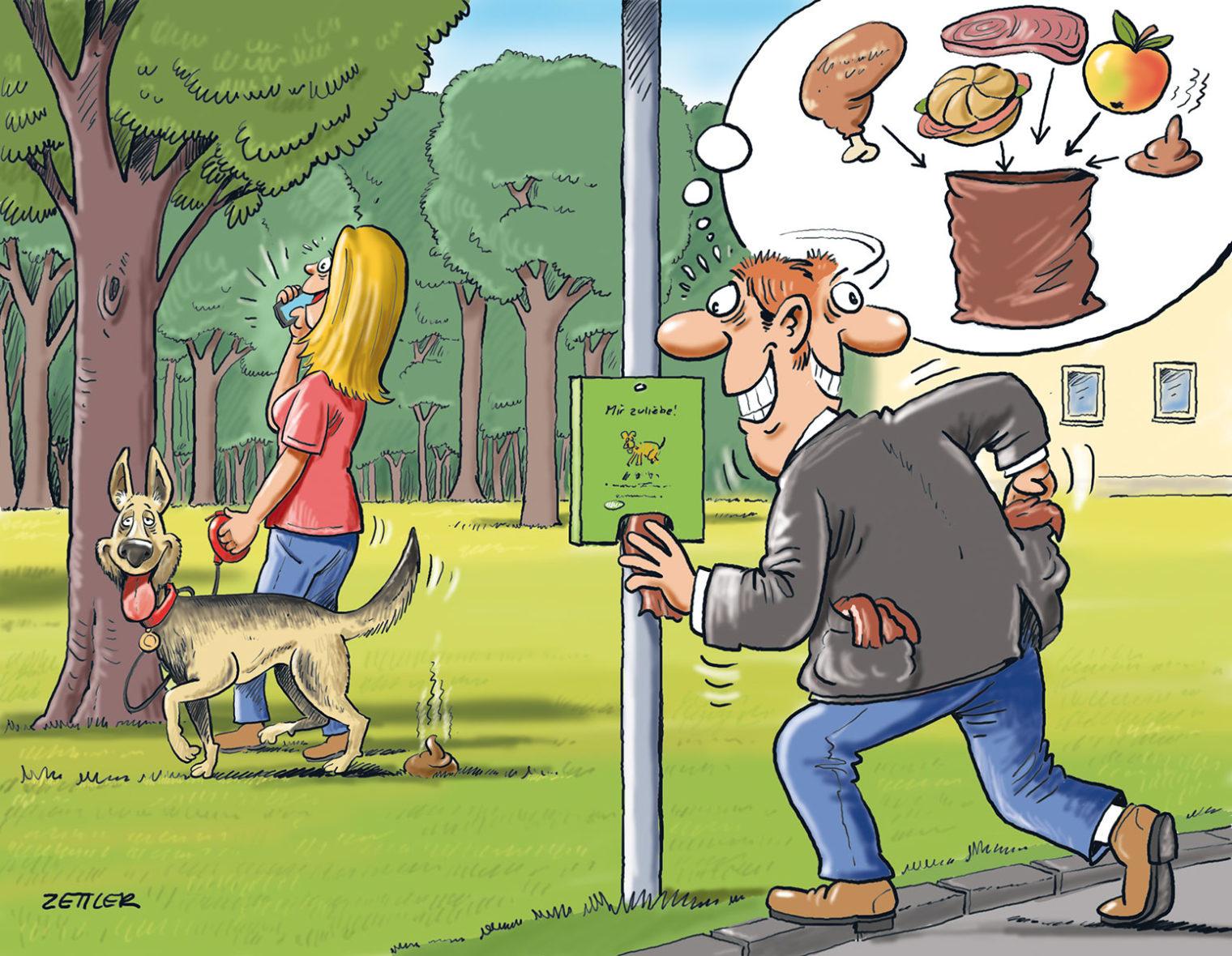 Comicbild für die Anregung zur Verwendung von Hundesackerln
