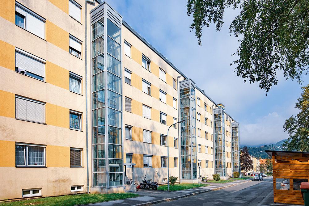 Outside view of Leoben council flats