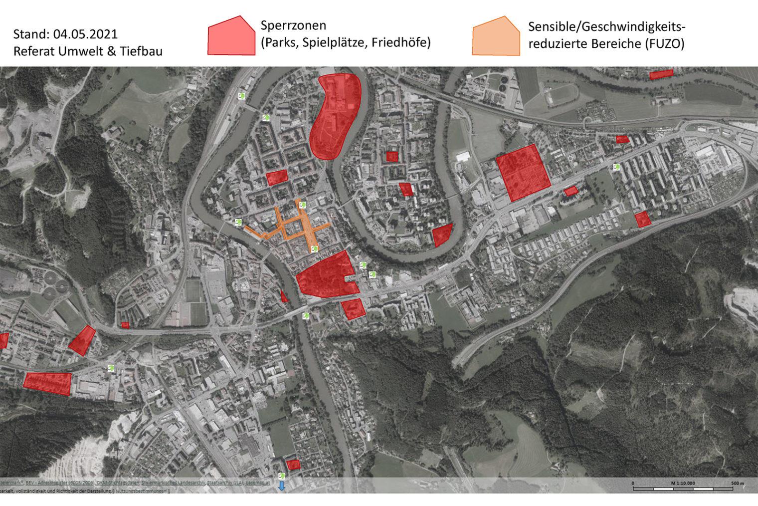 Übersichtskarte mit den Standorten der E-Scooter
