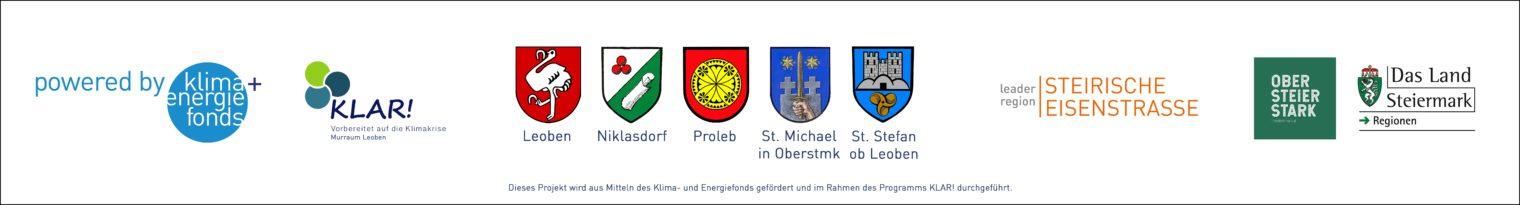 Banner inklusive der Wappen und Logos der mitwirkenden Gemeinden und Institutionen