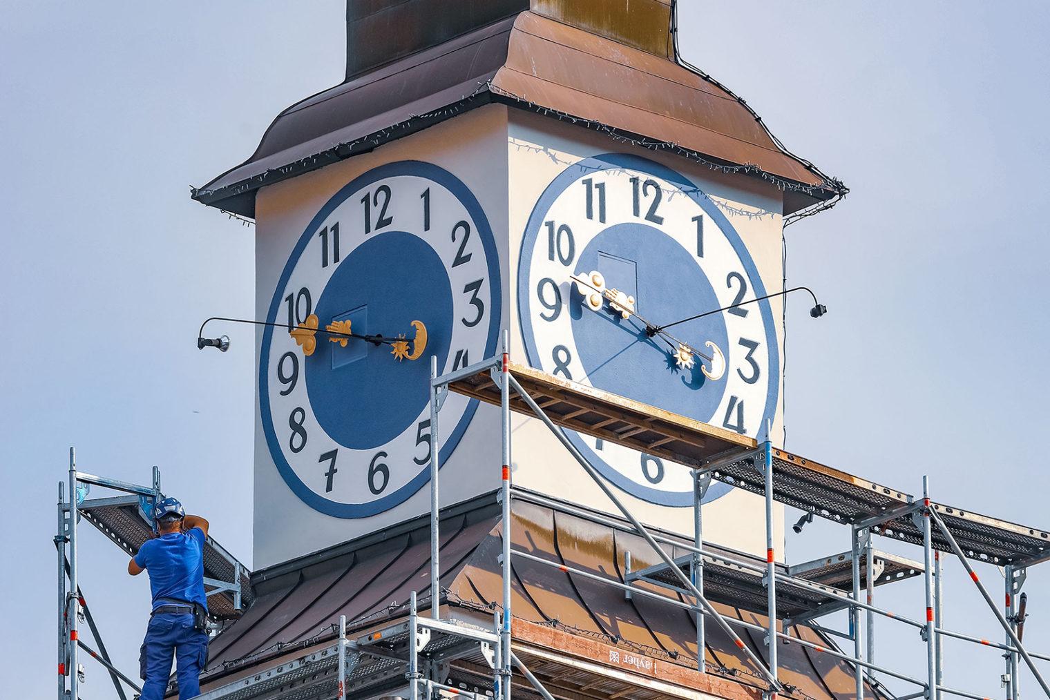 Uhrturm vom alten Rathaus Leoben